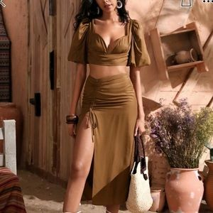 Taupe two piece skirt set